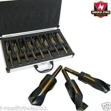 BIG LARGE SIZE SIZED STEEL METAL SILVER AND DEMING TOOL DRILL BIT SET DEMMING