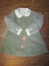 Tree House Kids Ivory Blouse&Olive Green Sleevless Corduroy Dress Girls 4T **EX*