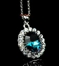 White Gold Fill Blue Sapphire Oval Drop Necklace Made With Swarovski Crystal N36