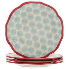 Pioneer Woman Happiness Blue Red Salad Plates 4 PC Vintage Retro Style NEW