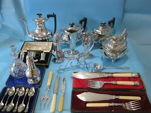 Great Large Job Lot Of Antique Silver Plate Items Vintage Items & Plated Cutlery