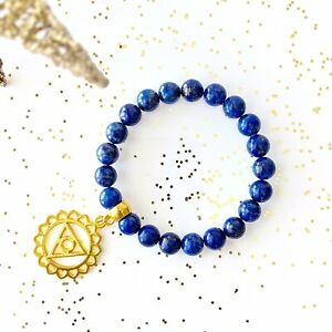 Lapis Lazuli Vishuddha Throat Chakra Gold Charm Stretch Bracelet