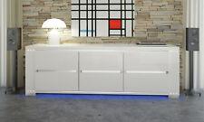 Sideboard Buffet Anrichte Lang Weiß Hochglanz LED Kristalle Italienische Möbel