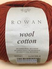 4 Balls Red Auburn Sh947 Rowan Wool Cotton Yarn - 50 grams Each - Same Lot