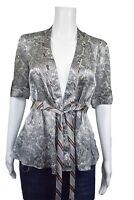 BCBG Max Azria Blouse Size XS  Blue Paisley Brown Short Sleeve Tie Waist