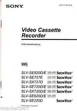 """ SONY ( SLV-SE820 / 727 / 720 / 620 / 220 / SX727 / 720 ) gebruiksaanwijzing"