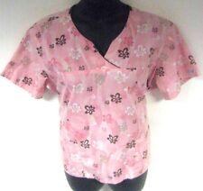 Best Medical Wear Women's Scrub Top Pink Floral Size XL