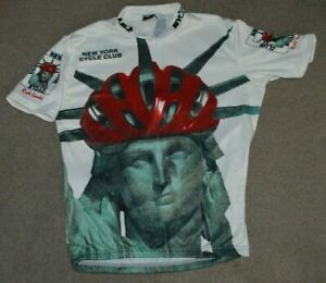 Vtg New York Cycle Club Ride Leader Cycling Jersey NYC Statue of Liberty 1999
