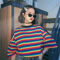 Harajuku Rainbow Striped Women T-shirt Causal Loose Spring Summer Oversize Tops