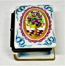Limoges France Box - Pv - Vintage Floral Book - Vase & Pink Roses - Flowers