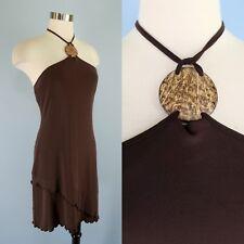 VICTORIA'S SECRET Stretch Knit Asymmetrical Hem Wood Bead Halter Dress M Moda
