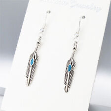 Vintage Silver Alloy Native Tribal Feather Turquoise Earrings 925 Sterling Hooks