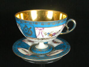 Gold Blue Sevres Style Josephine & Swag Floral Ribbons Crown N Teacup & Saucer