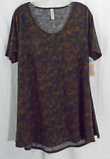 Womens LuLaRoe Perfect T Shirt MEDIUM Black Subtle Multi Colored Abstract  NWT