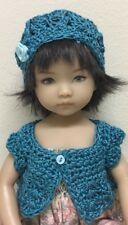 "Crochet ""Teal "" Sweater & Hat ~Effner Little Darling Or Similar 13-14"" Dolls"