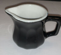 Vintage Black Glazed Restaurant Ware Personal Creamer Pitcher with Handle