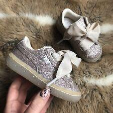 Puma Basket Baby Girl Gold Glitter Trainers Size Uk 4 Infant Vgc