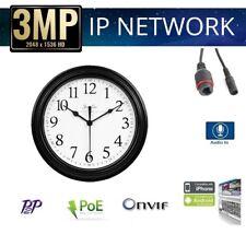 3MP H264/H265 HD POE Pinhole Spy Hidden IP Camera ONVIF 3.7mm Camera, Wall Clock