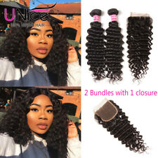 100% Brazilian Deep Curly Wave Human Hair Extensions 2 Bundles With Lace Closure