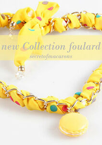 Fashion Necklace/Scarf Macarons 'Yellow' Women's - MCSFL02-C