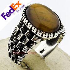 Natural Tiger's eye 925 Sterling Silver Turkish Men's Ring 11.25 US Free Resize