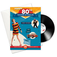 HAPPY 80th Story of Your Life 24 Page Booklet Greeting Card and Music Download