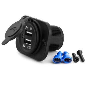 Car Universal Dual Port USB Phone Charger Cigarette Lighter Socket Adapter Black