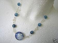 Alte Kette mit Muranoglas,Katzenauge,Aurora Borealis,Perlen 16,6 g / 46 cm