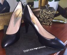 Brand New Emporio Armani Black Leather Pump Shoes Size 38