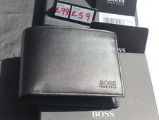 ORIGINAL HUGO BOSS AREZZO 50128297 TRIFOLD BLACK COIN POCKET REAL LEATHER WALLET