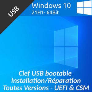 CLÉ CLEF USB BOOTABLE D'INSTALLATION WINDOWS 10 HOME & PRO 64BIT 21H1