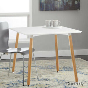 Dining Table White Simple Restaurant Coffee Kitchen Solid Wood  Leg Square 80cm