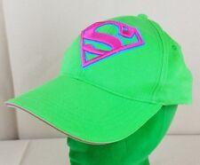 Six Flags Superman Pink Green Classic Logo Superhero Snap Back Baseball Cap Hat
