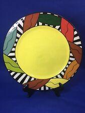 Studio Art Pottery Carol Gouthro Ceramic Plate Signed Bright Color Modern Design