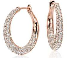 Pave 1.80 Cts Natural Diamonds Hoop Earrings In Solid Hallmark 18Karat Rose Gold