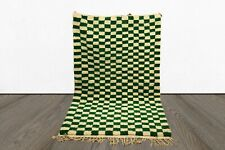 Green Checkered area rug, Moroccan berber checkerrug, custom checkerboard rug