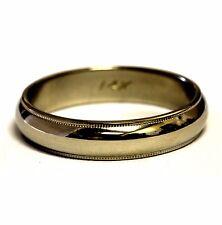 14k white gold 4.5mm milgrain mens wedding band ring 4.7g gents estate vintage