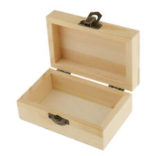 Unfinished Rectangle Wood Gift Jewelry Box Case DIY Base for Kids Toy Craft