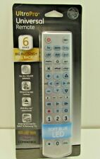 GE Ultra Pro Universal 6 Device Remote Control -Light Up Blue -Easy Programming