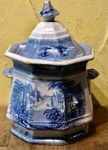 "Staffordshire Blue and White Transfer Sugar Bowl, SIAM"", J. Clementson, c. 1850"