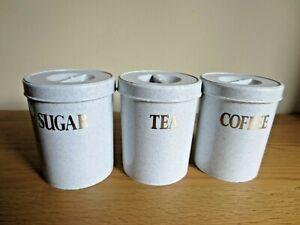 3 Vintage Tea Coffee & Sugar Canisters Grey 1980s Plastic Retro Camper Camping