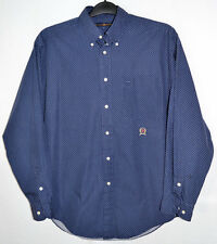 Tommy Hilfiger Shirt Blue White Dots Button Down Collar Long Sleeves Men's M