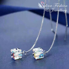 18K White Gold Plated Made With Swarovski Element Water Cube Ear Line Earrings
