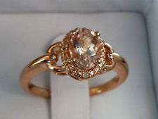 NEW Petite Morganite & Diamond Accent Halo Buckle Ring- 10K Rose Gold Size 7