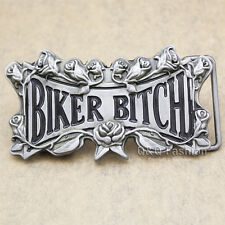 Western Cowgirl Silver Biker Bitch Rose Flower Motorcycle Greaser Belt Buckle