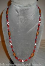 "NATIVE AMERICAN 32"" 2-STRAND NECKLACE, IRIDESCENT SEED BEADS & PINE NUTS!"
