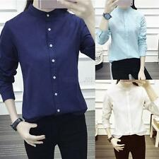Women Long Sleeve Collarless Shirt Casual OL Cotton Loose Crew Neck Tops Blouse