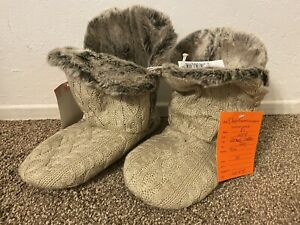 NEW - DearFoams Women's Bootie Slippers - Cable Knit, Fur-Lined, Tan, SIZE 5-6