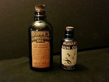 2.Vintage Style Hoppe's & Outers Gun Oil Glass Bottles.Artist Handcrafted