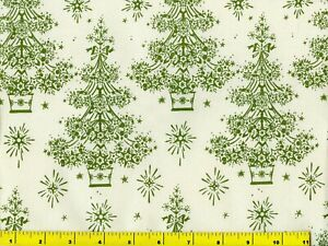 Starry Green Christmas Trees Quilting & Sewing Fabric Last Yard #3142y